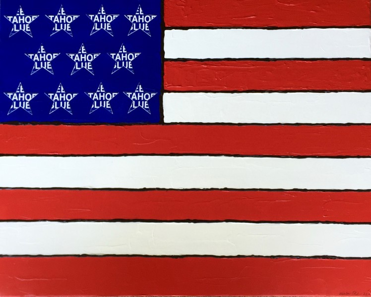 Stars, Stripes and Tahoe Blue 2016 24x30 acrylic and mixed media on canvas